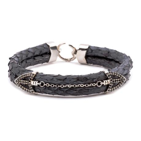 Scale Texture Double Arrow Link Double-Wrap Bracelet // Black + Silver
