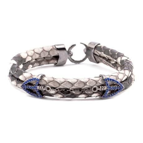 Scale Texture Double Arrow Link Double-Wrap Bracelet // Grey + Gunmetal + Blue