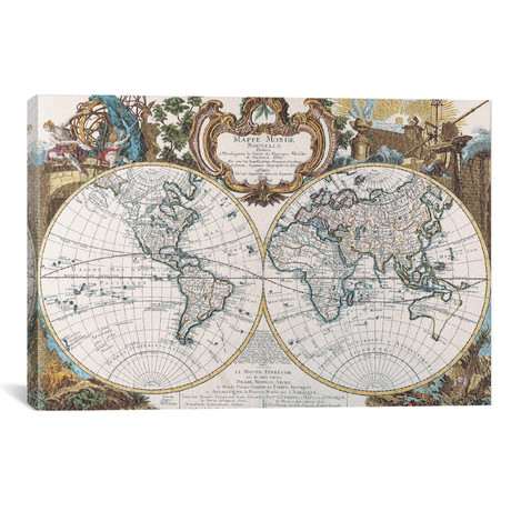 Antique Map of the World // Double Hemisphere