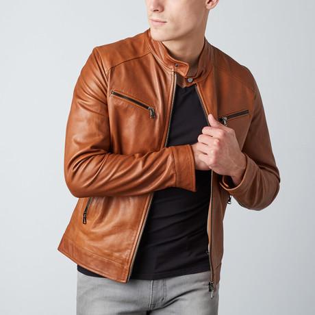 Hamilton Lamb Leather Biker Jacket // Tan
