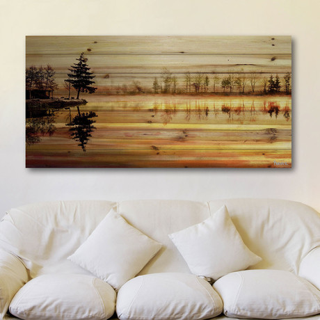 Pine Tree on Lake Painting Print // Natural Pine Wood