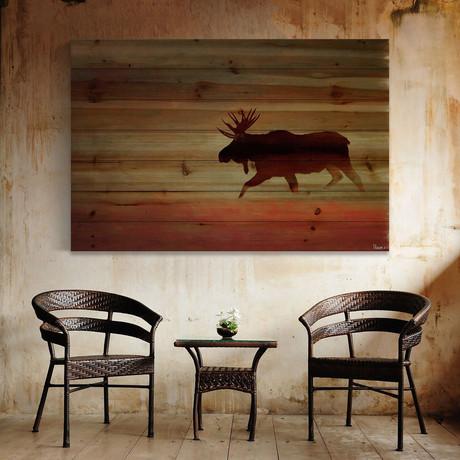 Traveling Moose Painting Print // Natural Pine Wood