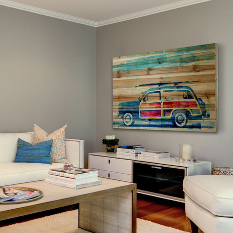 Scenic Surf Ride Painting Print // Natural Pine Wood