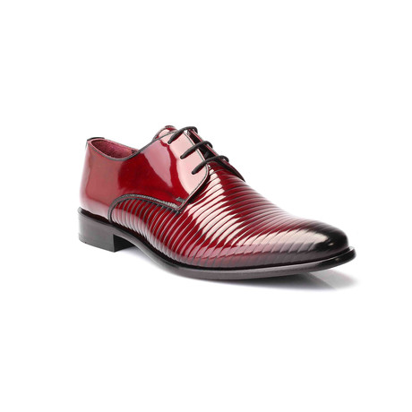 Rib Embossed Patent Derby // Bordeaux