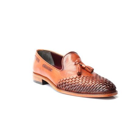 Woven Toe Tassel Loafer // Tobacco