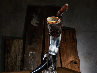 photo of Polished Short Drinking Horn + Fur Holster by Touch Of Modern