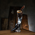 Polished Short Drinking Horn + Fur Holster