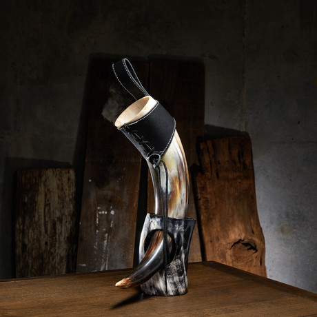 Polished Short Drinking Horn + Leather Holster