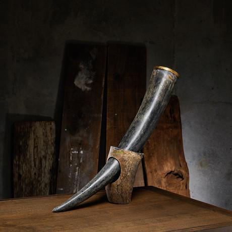 """Nostos + Wolf // Buffalo Drinking Horn + Stand (Long - 20"""" Horn)"""