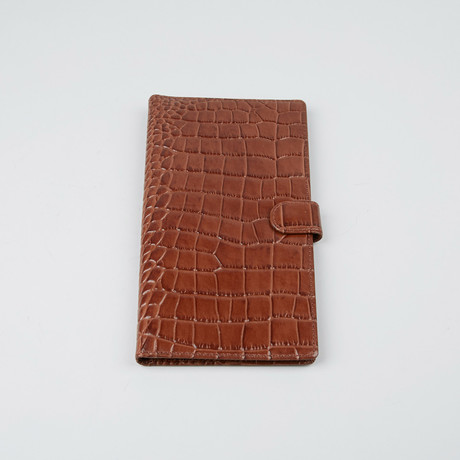Crocco Embossed Passport Holder // Brown
