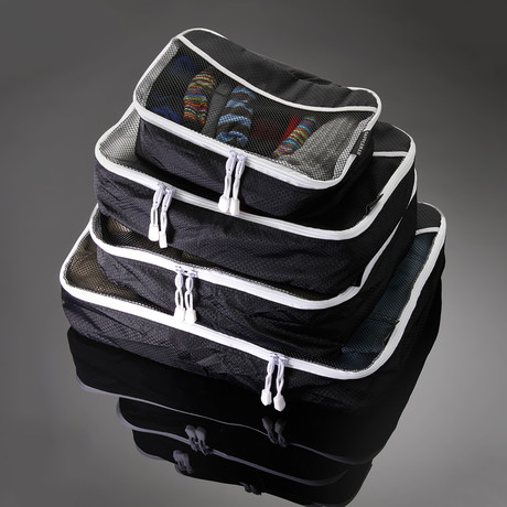 Dapperman // Packing Cube Set // Black + White