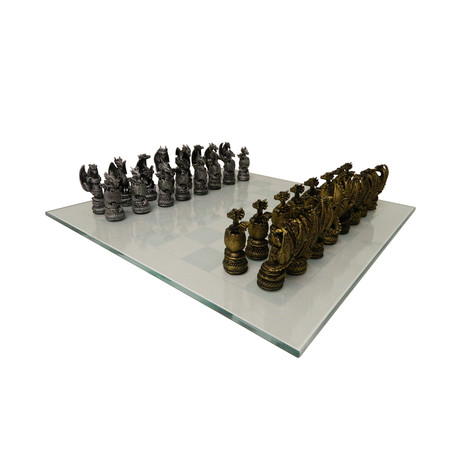 Chess USA // Dragon Kingdom Polystone Chess Set + Glass Board