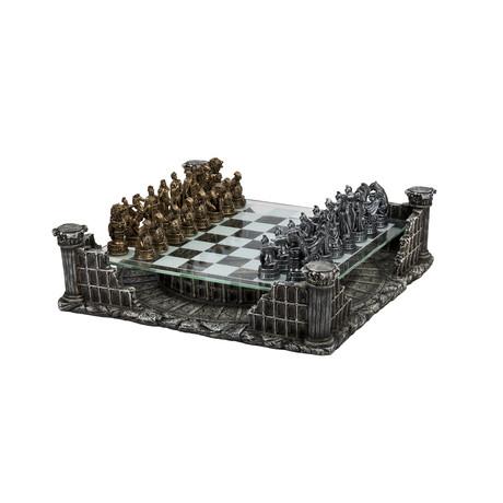 Chess USA // Coliseum Chess Set // Pewter + Glass