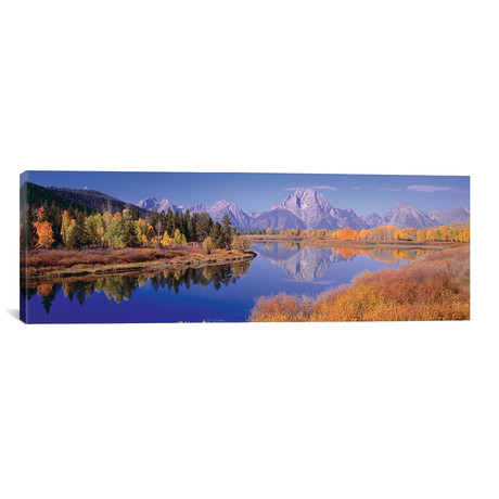 "Autumn Landscape I, Teton Range, Rocky Mountains, Oxbow Bend, Wyoming, USA // Panoramic Images (60""W x 20""H x 0.75""D)"