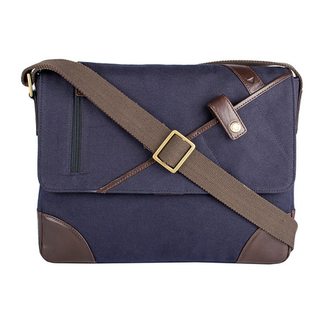 Cherokee Canvas + Leather Messenger // Blue + Brown