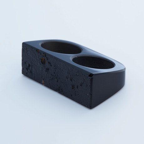 Double Natural Cortex Obsidian Ring