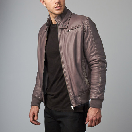 Thin Lamb Leather Bomber Jacket // Gray (Euro: 46)