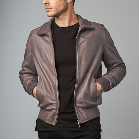 107 Leather Bomber Jacket // Gray (Euro: 44)