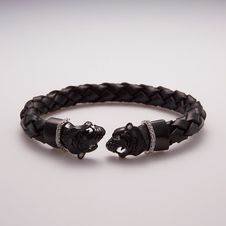 Leather Stainless Steel CZ Panther Bracelet