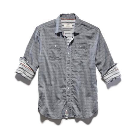 Double Layer Reverse Stripe LS Shirt // Charcoal