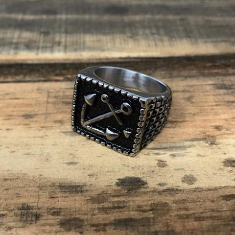 Antiqued Anchor Signet Ring // Silver + Black