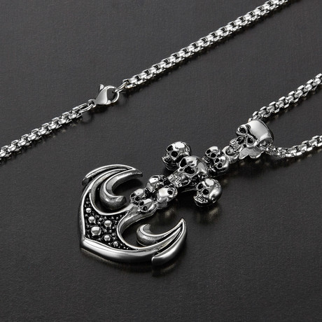 Skull Anchor Pendant Necklace // Silver + Black