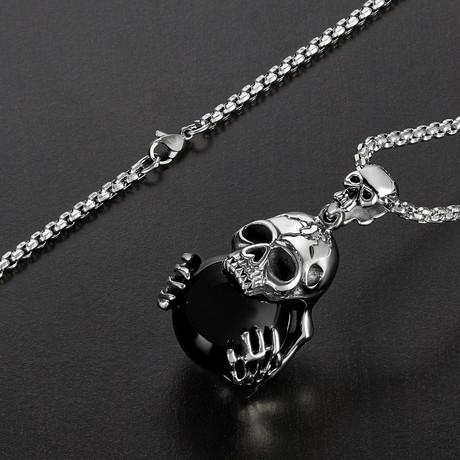 Glass Ball Skull Pendant Necklace // Silver + Black
