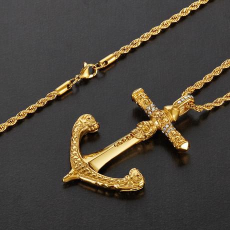 Antiqued Skull Anchor Pendant Necklace // Gold