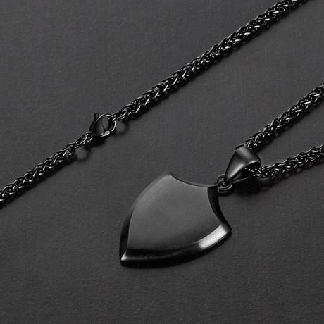 Shield Pendant Necklace // Black