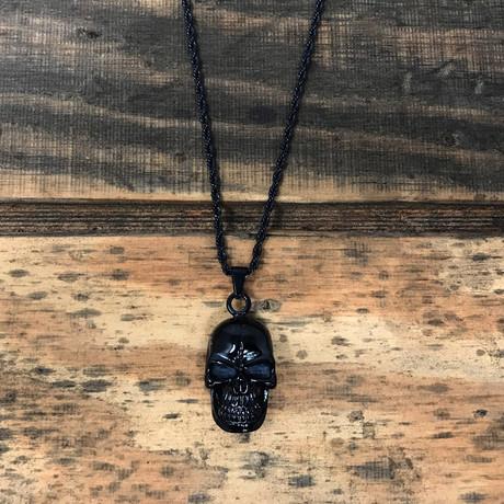 Grinning Skull Pendant Necklace // Black