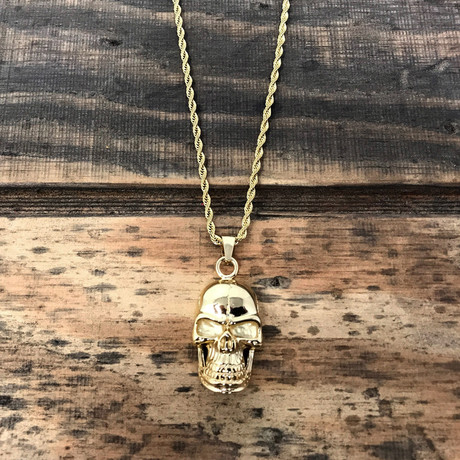 Grinning Skull Pendant Necklace // Gold