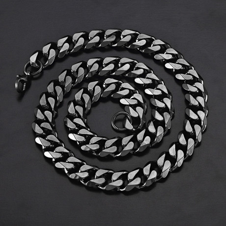 Cuban Curb Link Necklace // Black