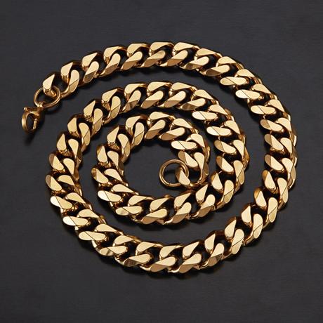 Cuban Curb Link Necklace // Gold