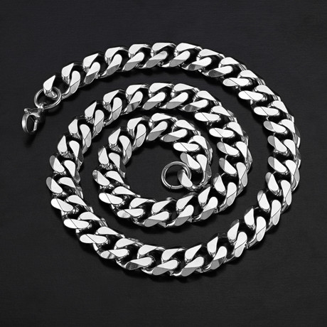 Cuban Curb Link Necklace // Silver