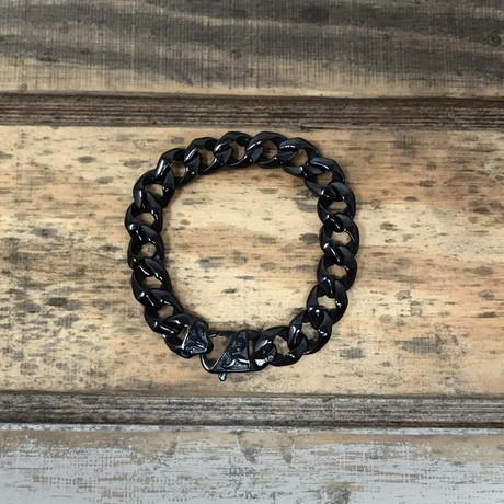 Fleur De Lis Clasp Curb Bracelet // Gunmetal