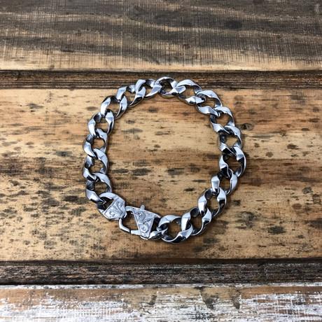 Fleur De Lis Clasp Curb Bracelet // Silver