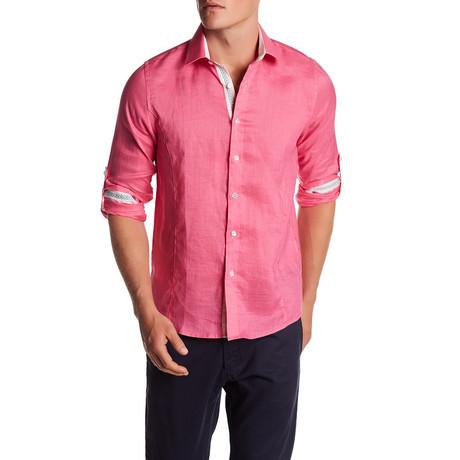 Solid Linen Blend Long-Sleeve Shirt // Fuchsia