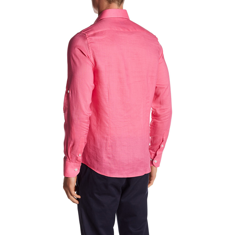 Linen blend long sleeve button up shirt fuchsia xl for Linen long sleeve shirt