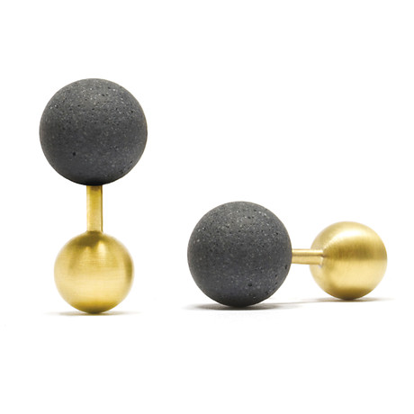 Concrete + Gold Cufflinks // Concrete Sphere