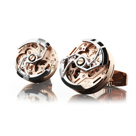 Rotor Cufflink // Red Gold PVD + Stainless Steel