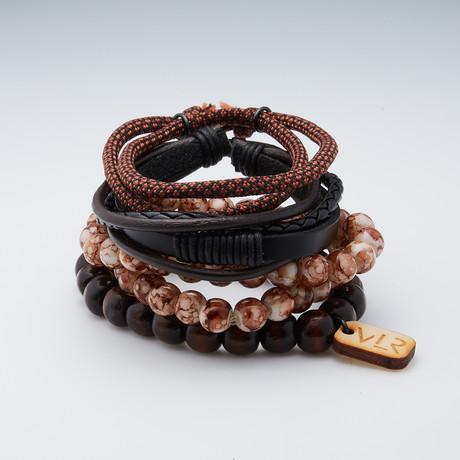 Variety Bracelet Set // Brown + White + Black