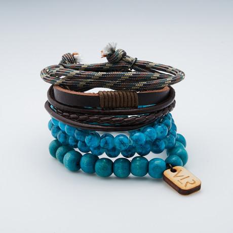 Variety Bracelet Set // Teal + Brown