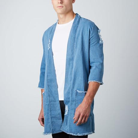 Woven Kimono Jacket // Stone Wash Blue Denim