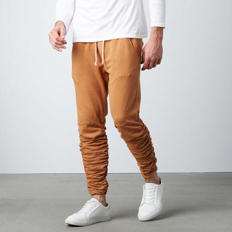 Santos Rouched Leg Jogger Sweatpants // Camel (S)