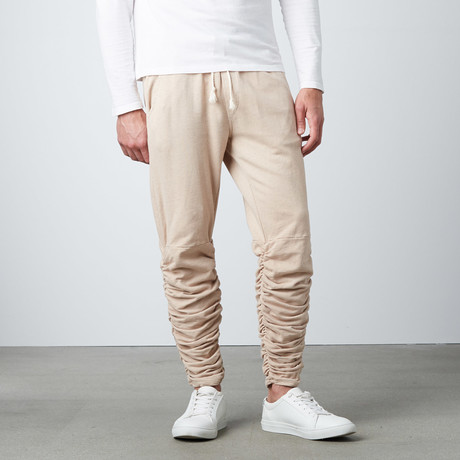 Santos Rouched Leg Jogger Sweatpants // Taupe (S)