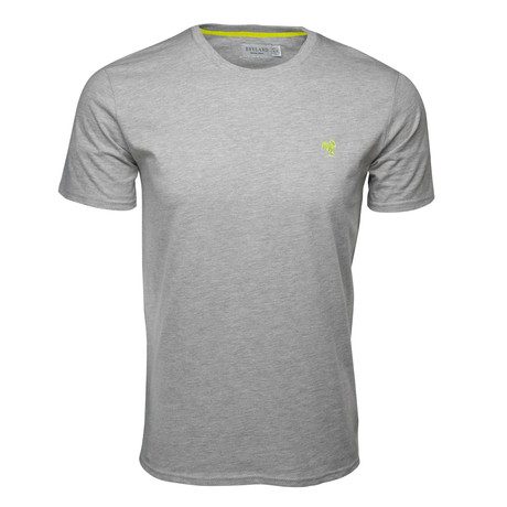 Embroidered T-Shirt // Heather Gray + Lime (S)