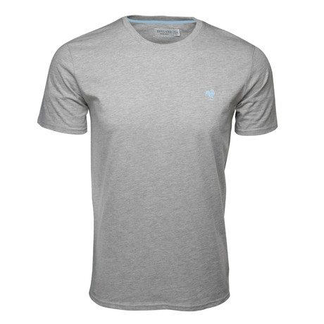 Embroidered T-Shirt // Heather Gray + Sea Breeze (S)