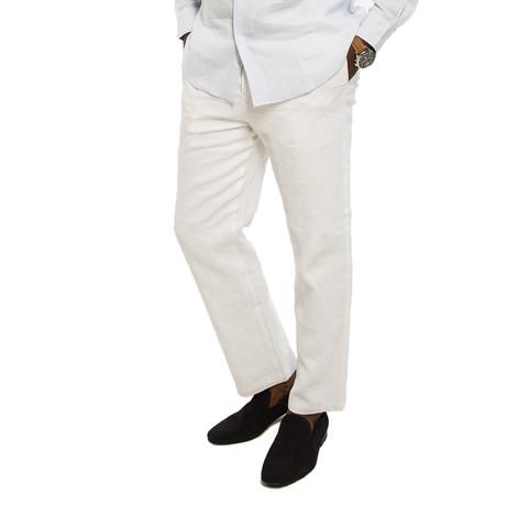 Bry-Lined Linen Pant // Coconut (28WX30L)