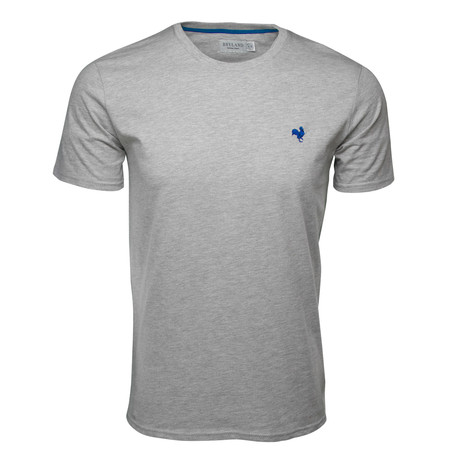 Embroidered T-Shirt // Heather Gray + Royal Blue (S)