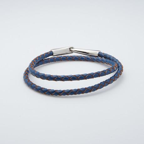 Woven Leather Wrap Bracelet // Blue + Silver